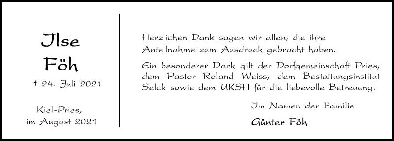 Traueranzeige für Ilse Föh vom 14.08.2021 aus Kieler Nachrichten