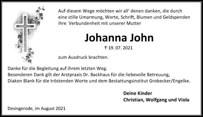 Traueranzeige für Johanna John vom 07.08.2021 aus Eichsfelder Tageblatt
