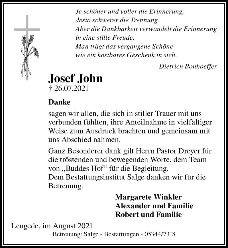 Traueranzeige für Josef John vom 20.08.2021 aus Peiner Allgemeine Zeitung