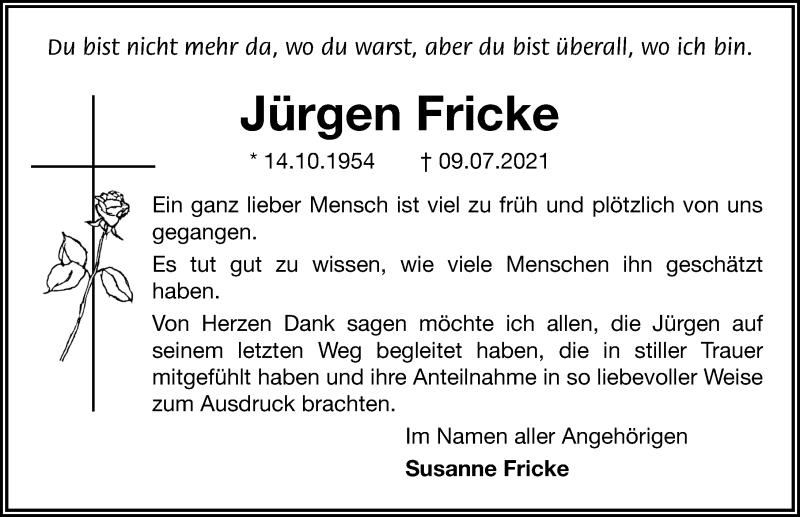 Traueranzeige für Jürgen Fricke vom 07.08.2021 aus Aller Zeitung