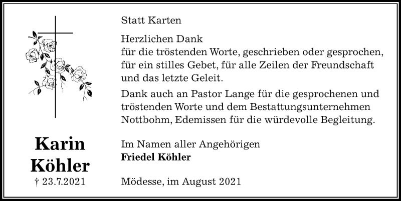 Traueranzeige für Karin Köhler vom 28.08.2021 aus Peiner Allgemeine Zeitung