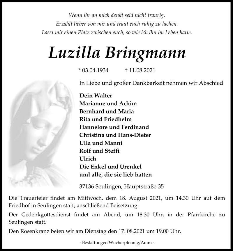 Traueranzeige für Luzilla Bringmann vom 14.08.2021 aus Eichsfelder Tageblatt