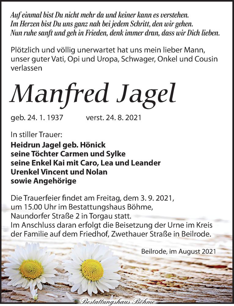 Traueranzeige für Manfred Jagel vom 28.08.2021 aus Torgauer Zeitung