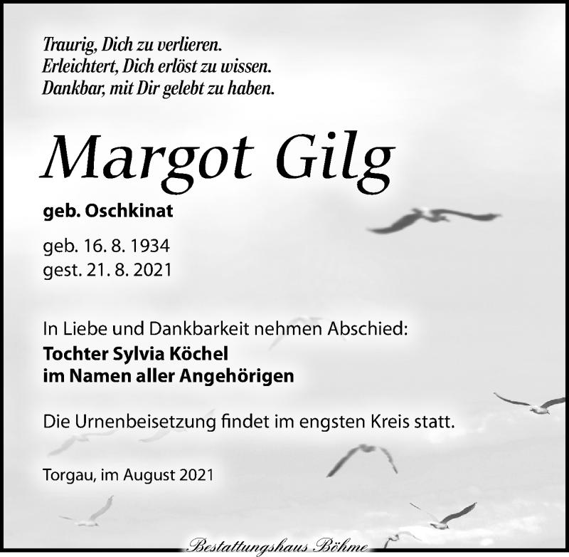 Traueranzeige für Margot Gilg vom 28.08.2021 aus Torgauer Zeitung
