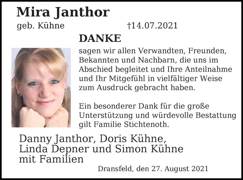 Traueranzeige für Mira Janthor vom 28.08.2021 aus Göttinger Tageblatt