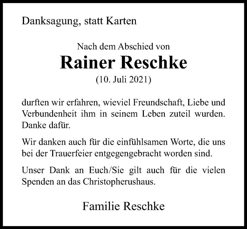 Traueranzeige für Rainer Reschke vom 21.08.2021 aus Göttinger Tageblatt