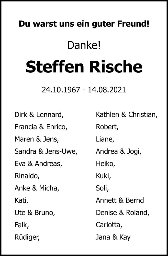 Traueranzeige für Steffen Rische vom 21.08.2021 aus Ostsee-Zeitung GmbH