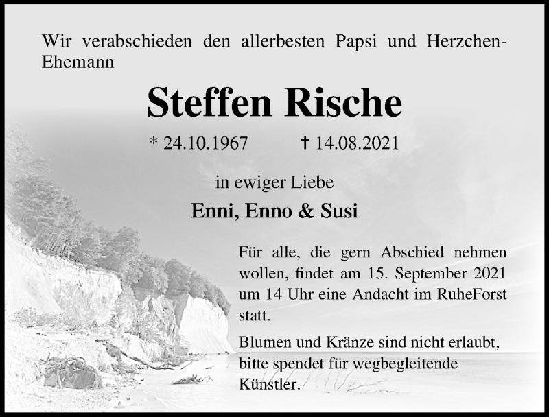 Traueranzeige für Steffen Rische vom 28.08.2021 aus Ostsee-Zeitung GmbH