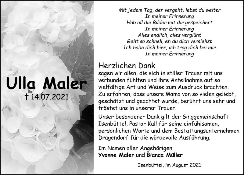 Traueranzeige für Ulla Maler vom 28.08.2021 aus Aller Zeitung