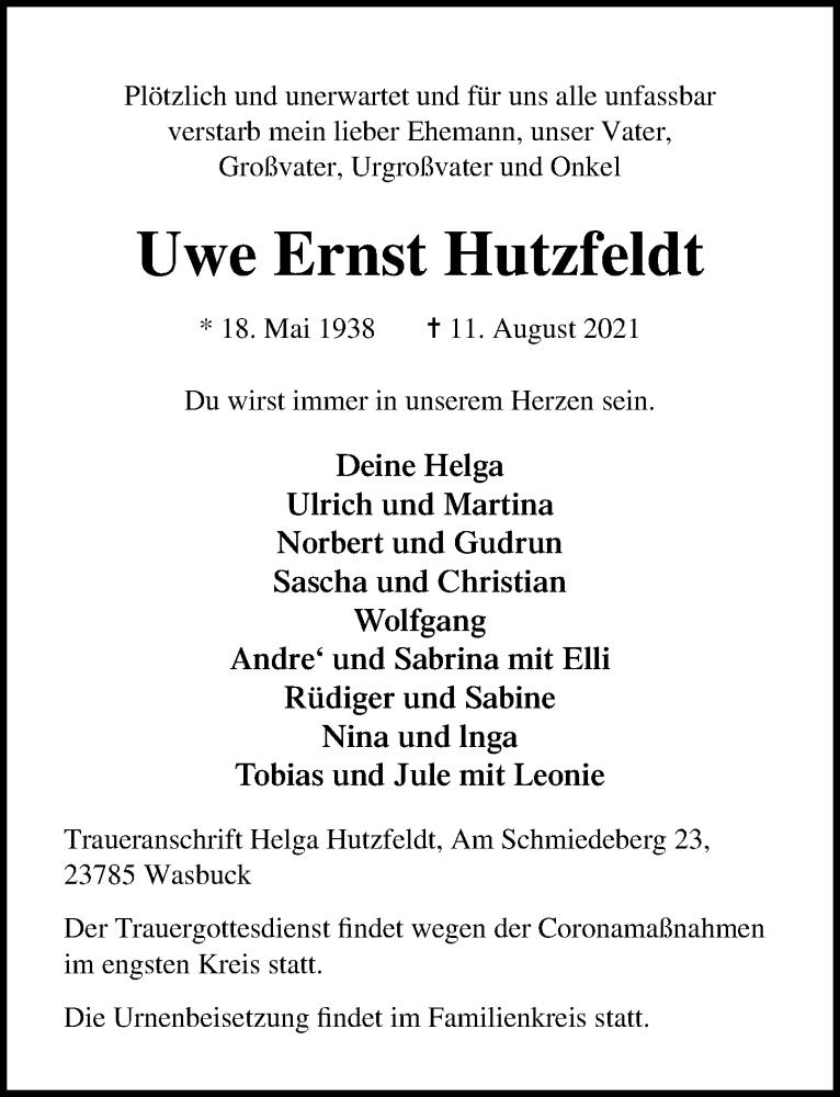 Traueranzeige für Uwe Ernst Hutzfeldt vom 31.08.2021 aus Lübecker Nachrichten