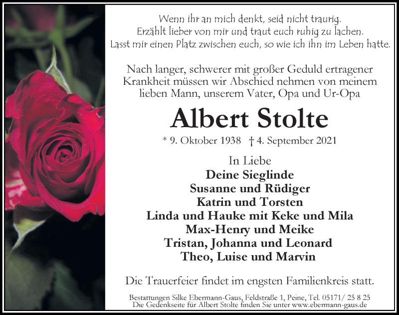 Traueranzeige für Albert Stolte vom 07.09.2021 aus Peiner Allgemeine Zeitung