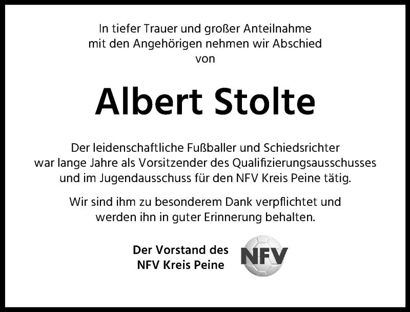 Traueranzeige für Albert Stolte vom 11.09.2021 aus Peiner Allgemeine Zeitung