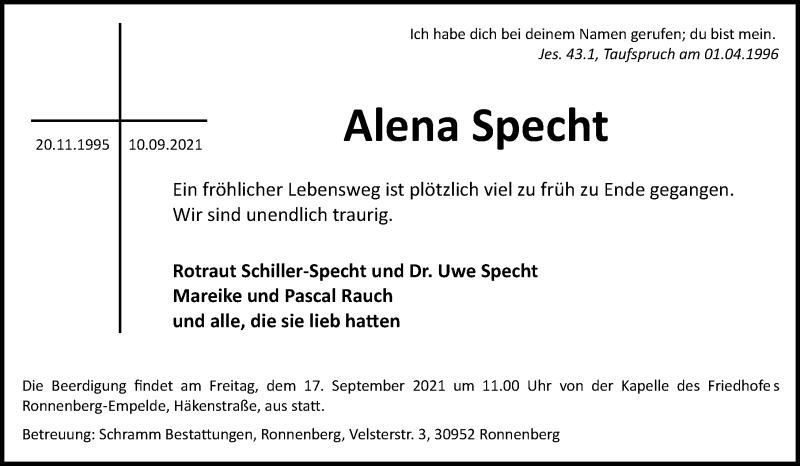 Traueranzeige für Alena Specht vom 15.09.2021 aus Hannoversche Allgemeine Zeitung/Neue Presse