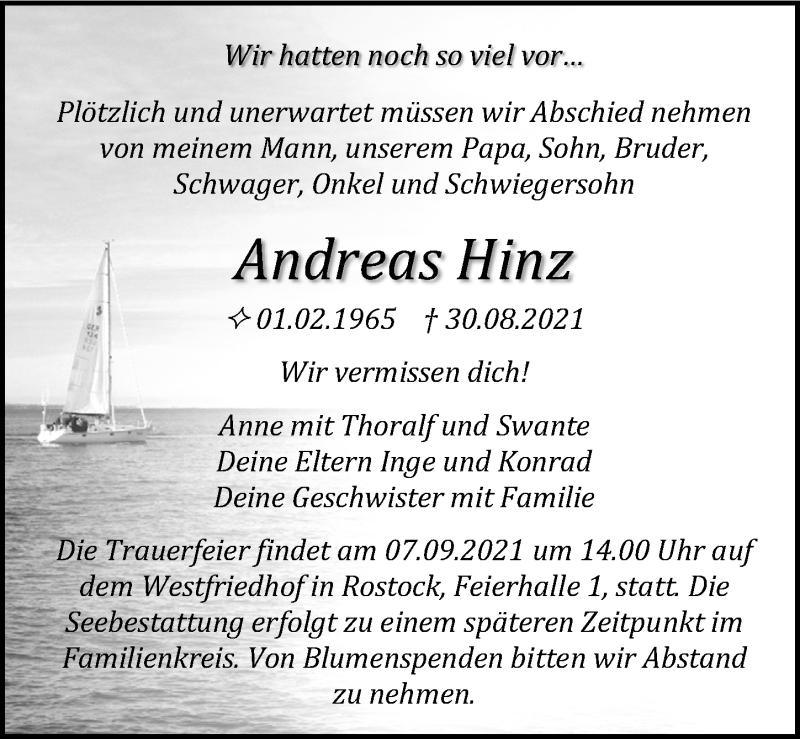 Traueranzeige für Andreas Hinz vom 04.09.2021 aus Ostsee-Zeitung GmbH