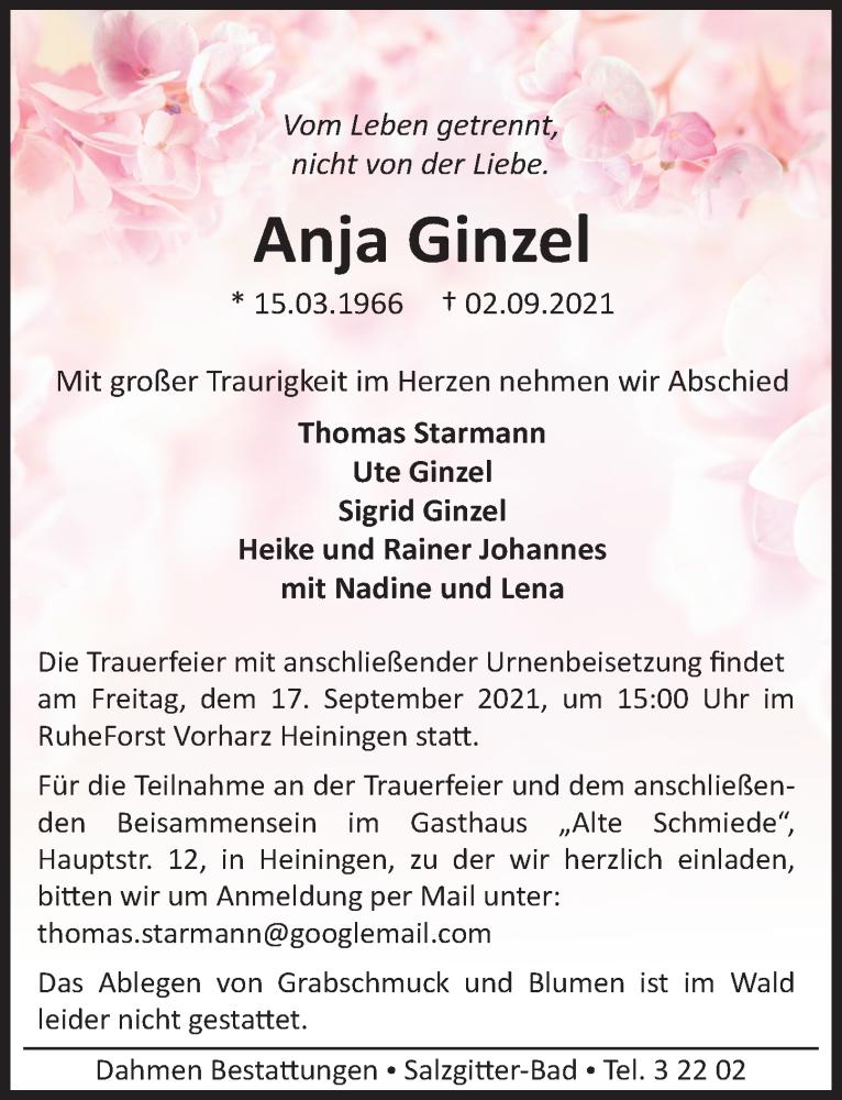 Traueranzeige für Anja Ginzel vom 11.09.2021 aus Peiner Allgemeine Zeitung