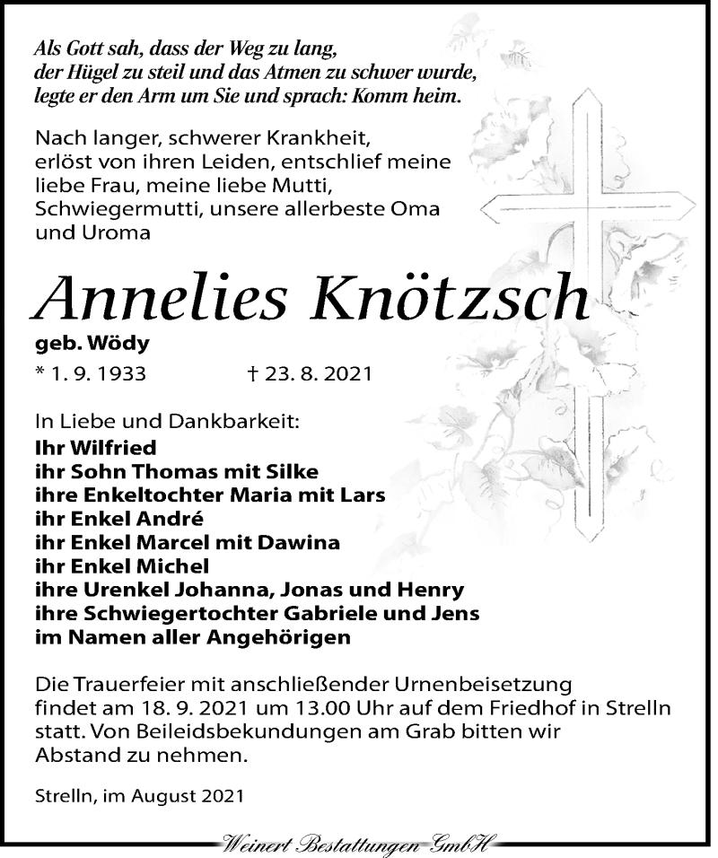 Traueranzeige für Annelies Knötzsch vom 11.09.2021 aus Torgauer Zeitung