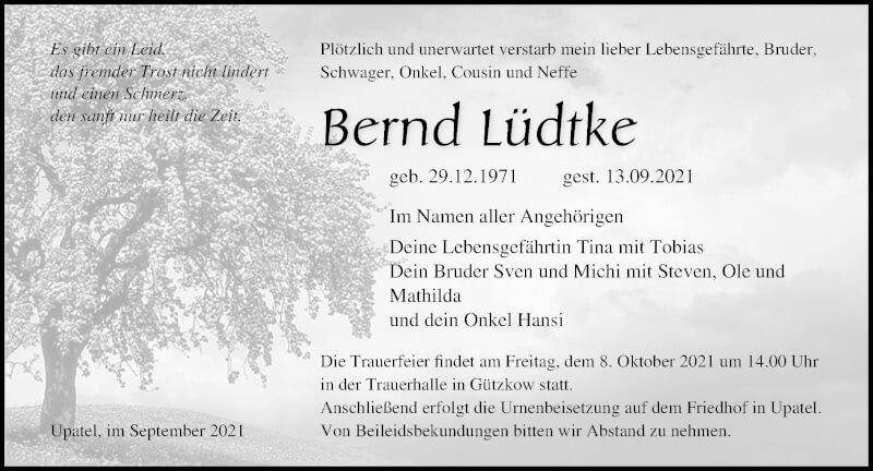 Traueranzeige für Bernd Lüdtke vom 18.09.2021 aus Ostsee-Zeitung GmbH