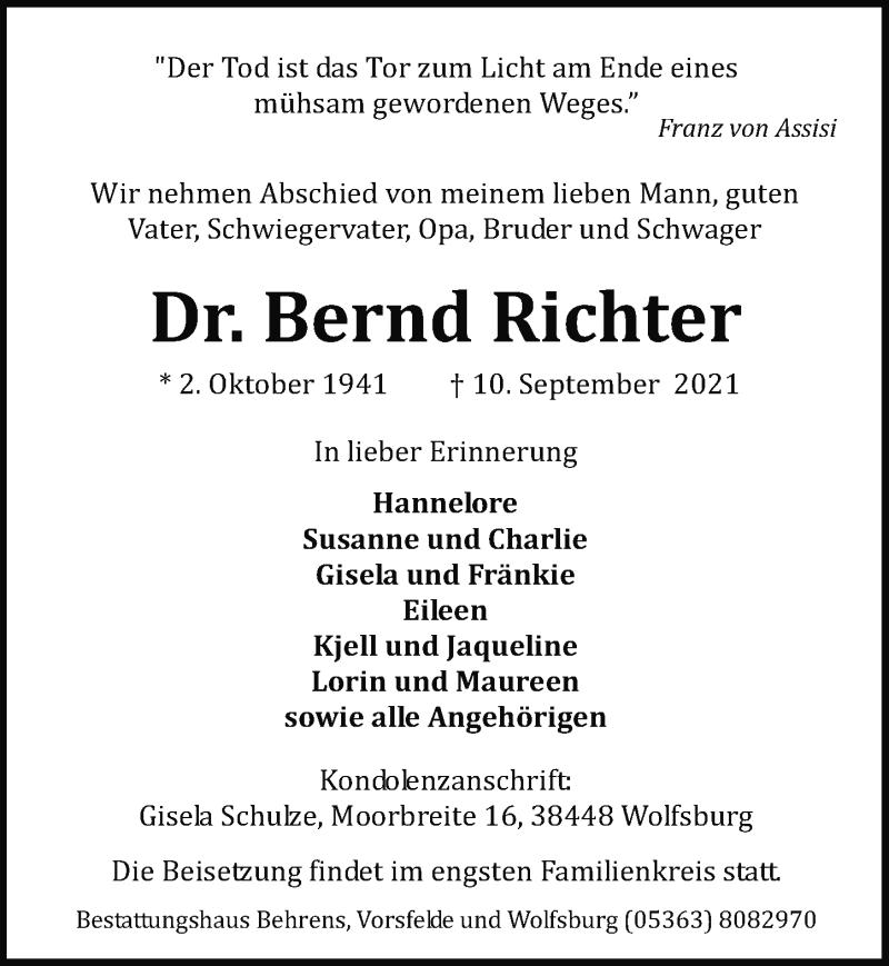 Traueranzeige für Bernd Richter vom 14.09.2021 aus Aller Zeitung