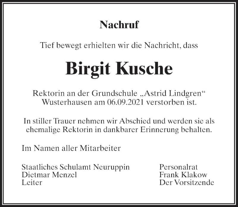 Traueranzeige für Birgit Kusche vom 18.09.2021 aus Märkischen Allgemeine Zeitung
