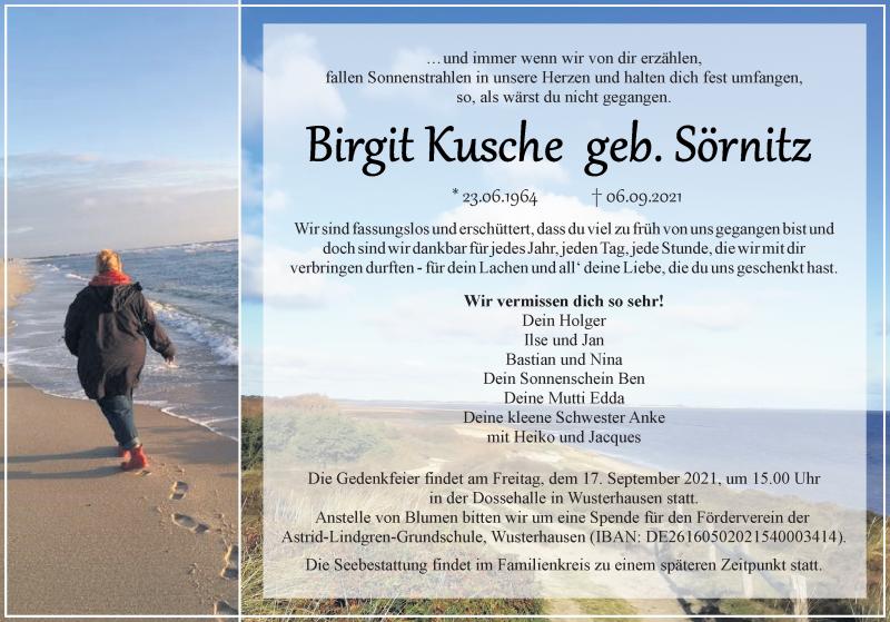 Traueranzeige für Birgit Kusche vom 11.09.2021 aus Märkischen Allgemeine Zeitung
