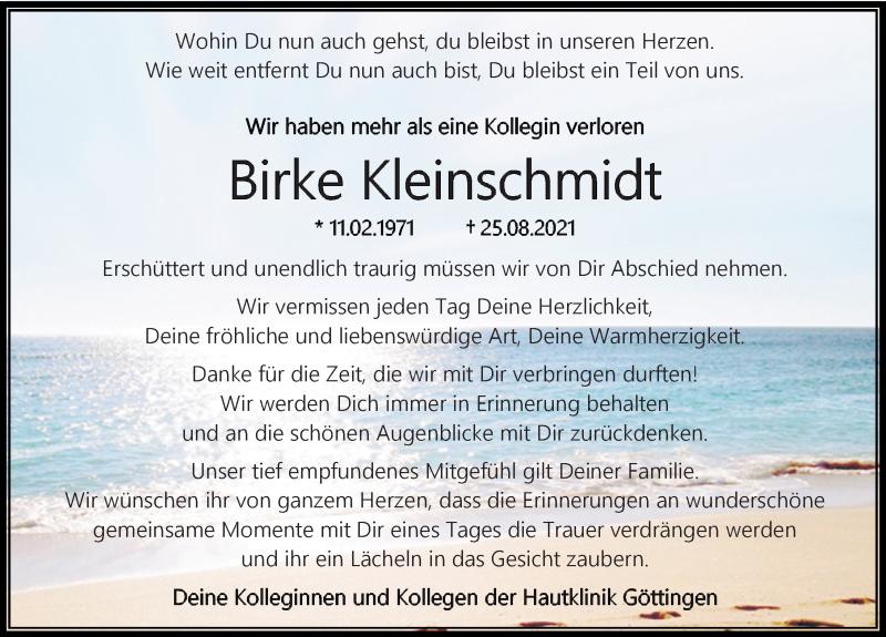 Traueranzeige für Birke Kleinschmidt vom 25.09.2021 aus Göttinger Tageblatt