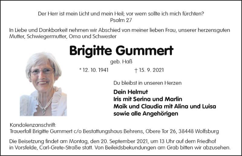 Traueranzeige für Brigitte Gummert vom 18.09.2021 aus Aller Zeitung