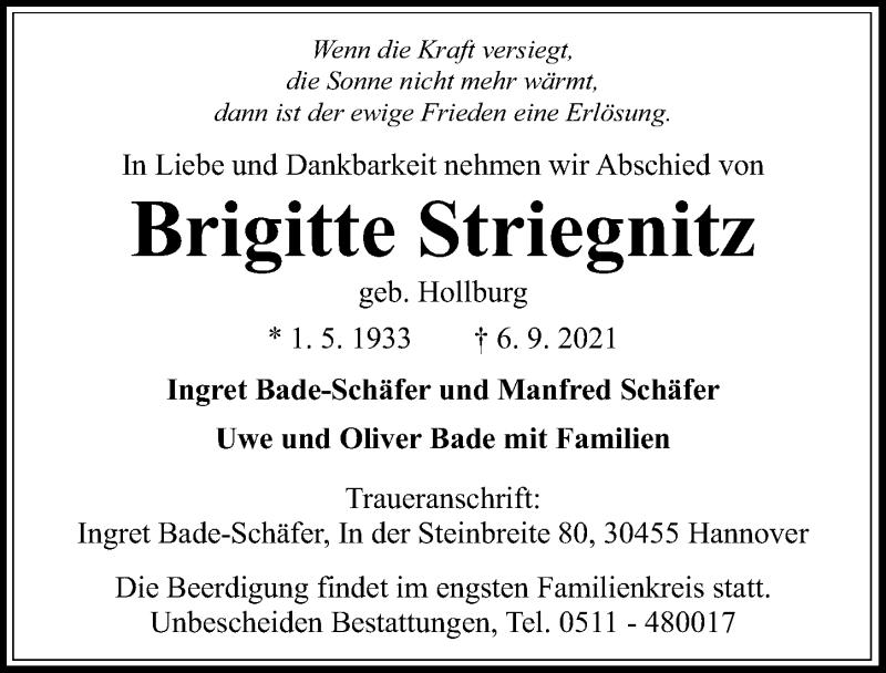 Traueranzeige für Brigitte Striegnitz vom 11.09.2021 aus Hannoversche Allgemeine Zeitung/Neue Presse