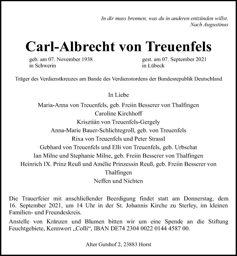 Traueranzeige für Carl-Albrecht von Treuenfels vom 11.09.2021 aus Lübecker Nachrichten