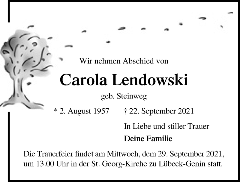 Traueranzeige von  Carola Lendowski