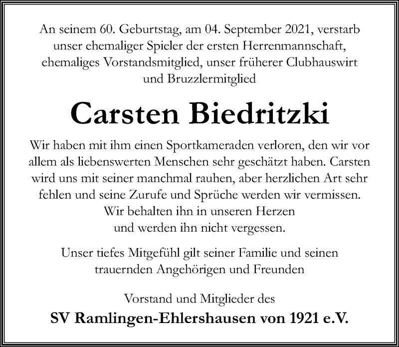Traueranzeige für Carsten Biedritzki vom 11.09.2021 aus Hannoversche Allgemeine Zeitung/Neue Presse