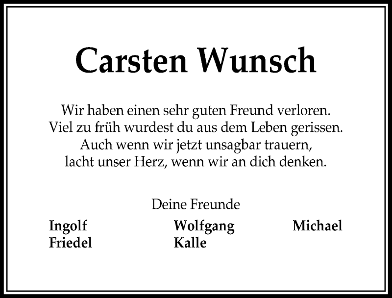Traueranzeige für Carsten Wunsch vom 11.09.2021 aus Peiner Allgemeine Zeitung