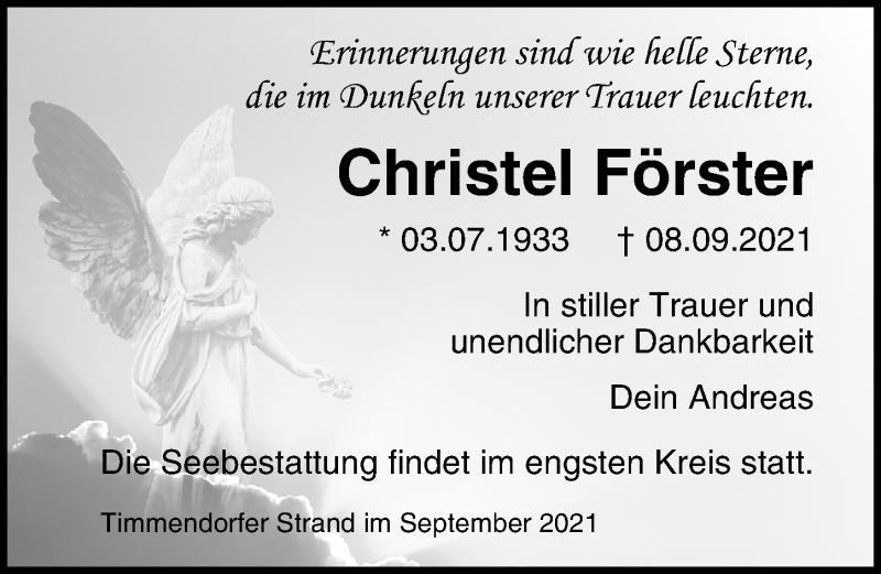 Traueranzeige für Christel Förster vom 12.09.2021 aus Lübecker Nachrichten
