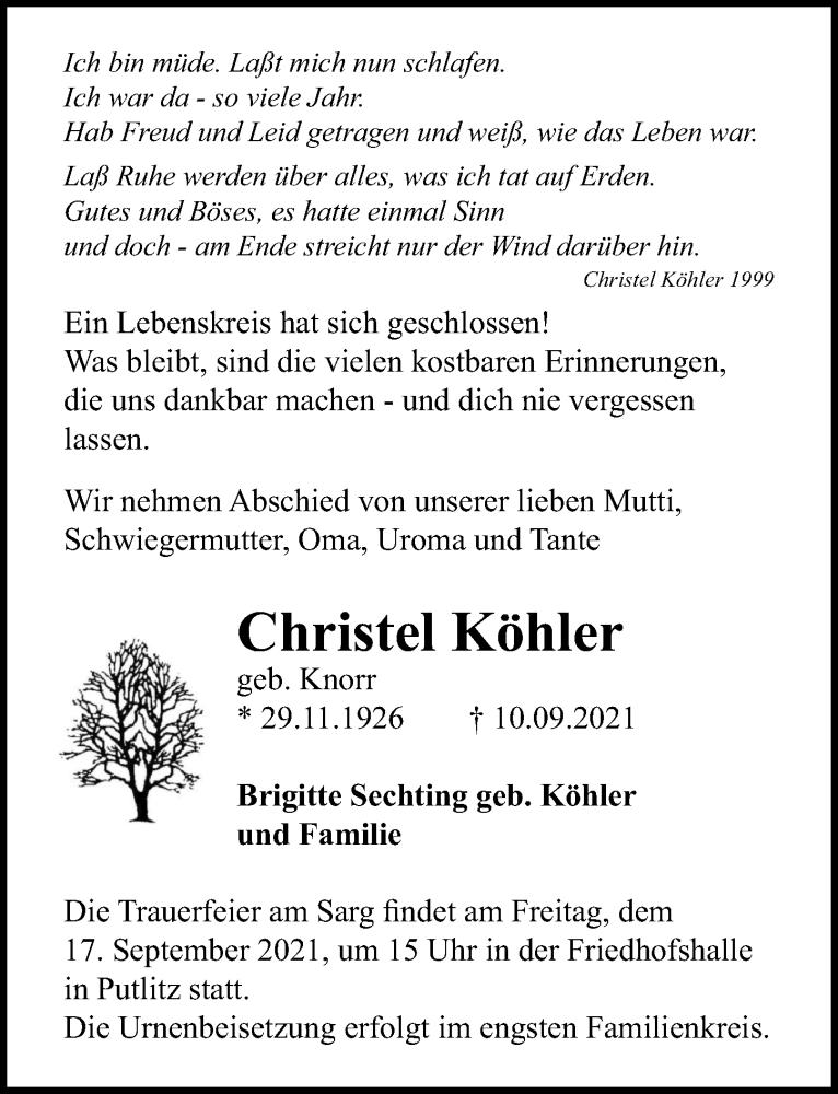 Traueranzeige für Christel Köhler vom 15.09.2021 aus Märkischen Allgemeine Zeitung