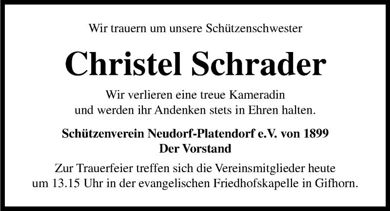 Traueranzeige für Christel Schrader vom 16.09.2021 aus Aller Zeitung