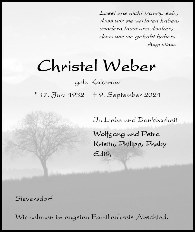 Traueranzeige für Christel Weber vom 11.09.2021 aus Kieler Nachrichten