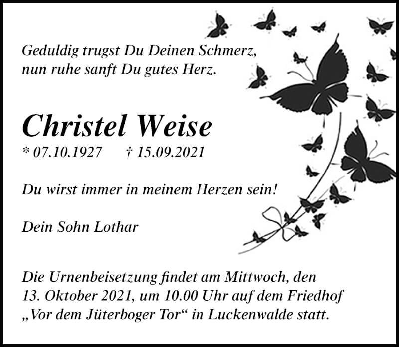 Traueranzeige für Christel Weise vom 18.09.2021 aus Märkischen Allgemeine Zeitung