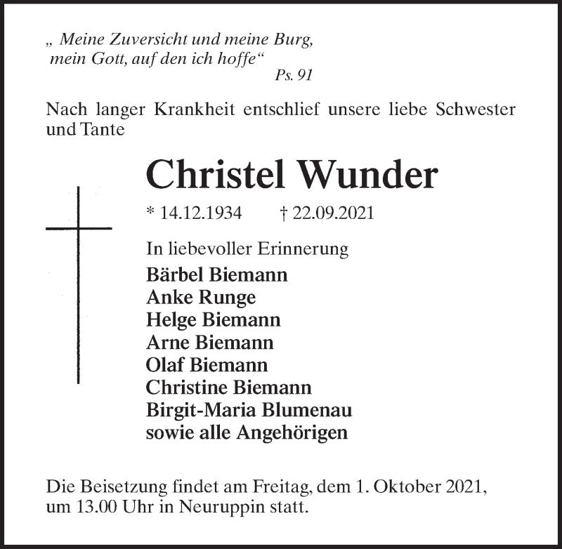 Traueranzeige von  Christel Wunder