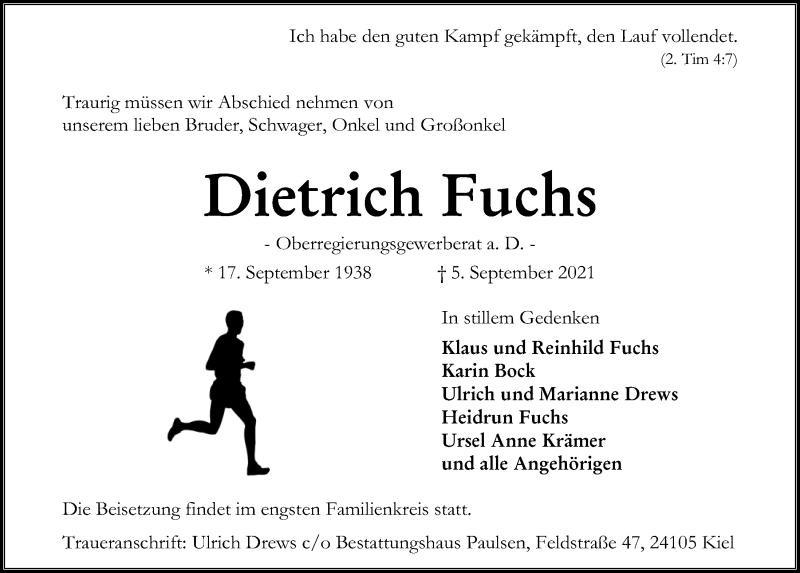 Traueranzeige für Dietrich Fuchs vom 11.09.2021 aus Kieler Nachrichten