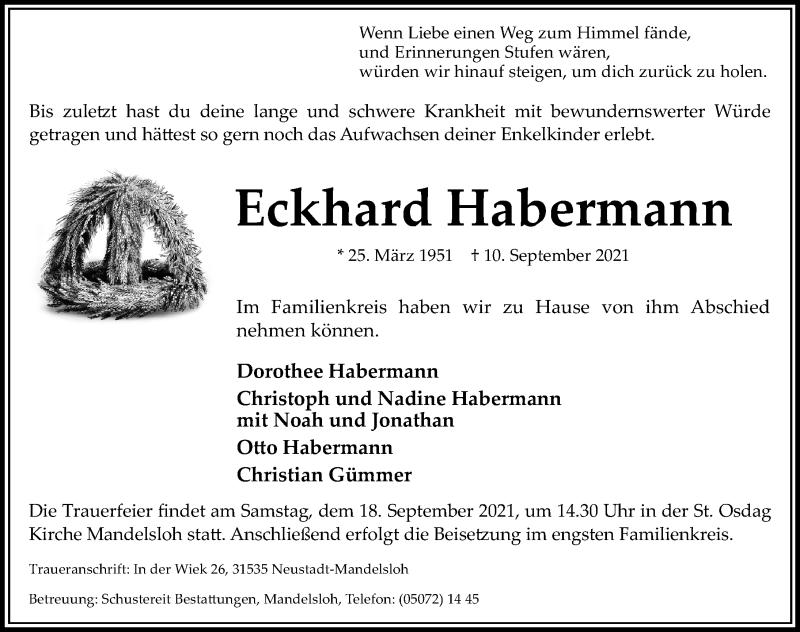 Traueranzeige für Eckhard Habermann vom 15.09.2021 aus Hannoversche Allgemeine Zeitung/Neue Presse