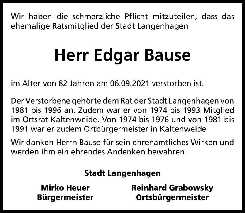 Traueranzeige für Edgar Bause vom 15.09.2021 aus Hannoversche Allgemeine Zeitung/Neue Presse