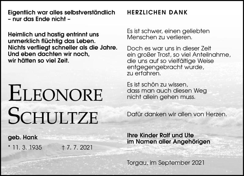 Traueranzeige für Eleonore Schultze vom 04.09.2021 aus Torgauer Zeitung