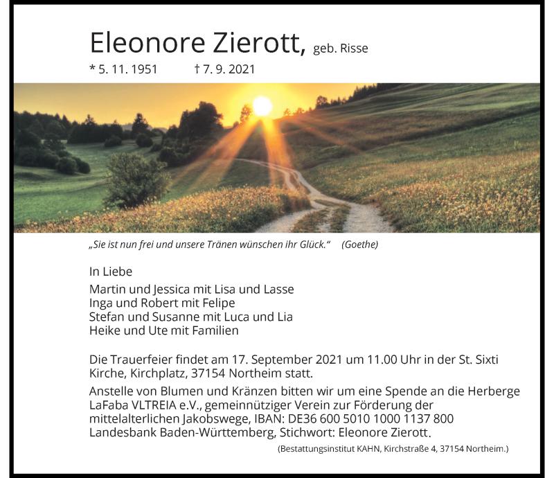 Traueranzeige für Eleonore Zierott vom 11.09.2021 aus Göttinger Tageblatt