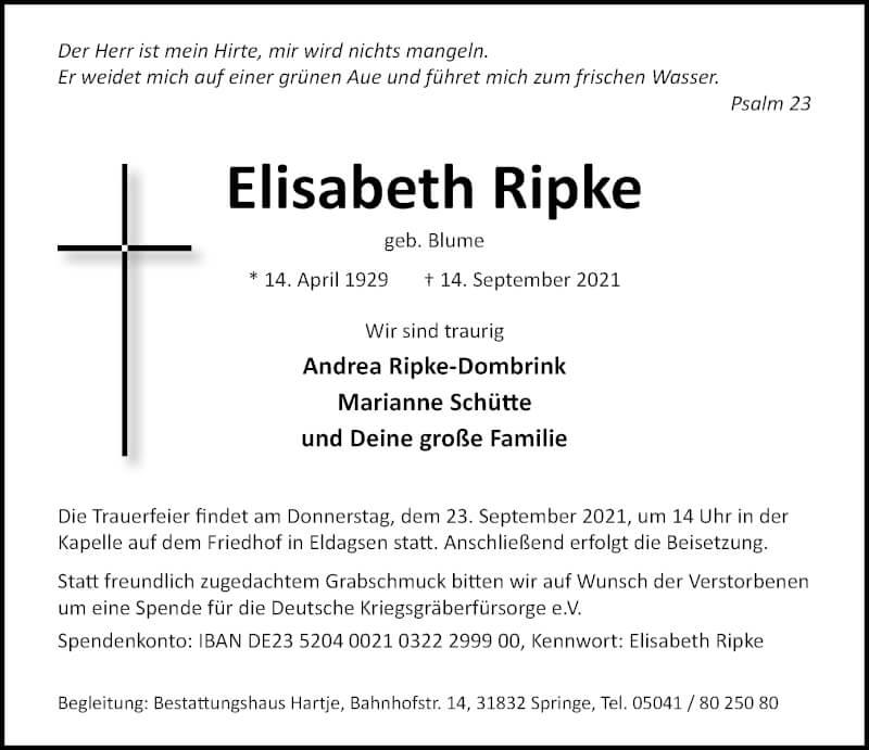 Traueranzeige für Elisabeth Ripke vom 18.09.2021 aus Hannoversche Allgemeine Zeitung/Neue Presse