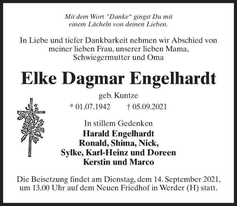 Traueranzeige für Elke Dagmar Engelhardt vom 11.09.2021 aus Märkischen Allgemeine Zeitung