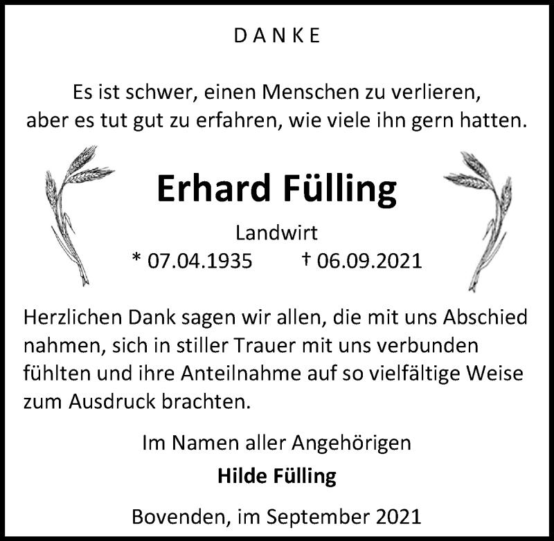 Traueranzeige für Erhard Fülling vom 25.09.2021 aus Göttinger Tageblatt