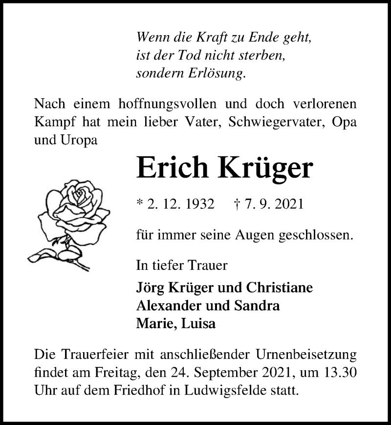 Traueranzeige für Erich Krüger vom 11.09.2021 aus Märkischen Allgemeine Zeitung