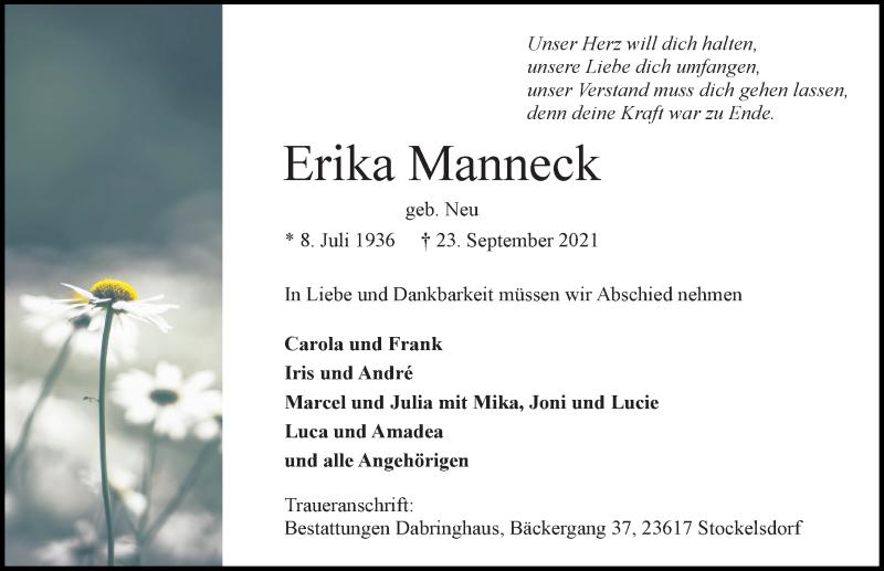 Traueranzeige von  Erika Manneck