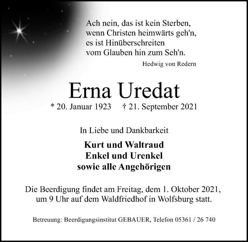 Traueranzeige von  Erna Uredat