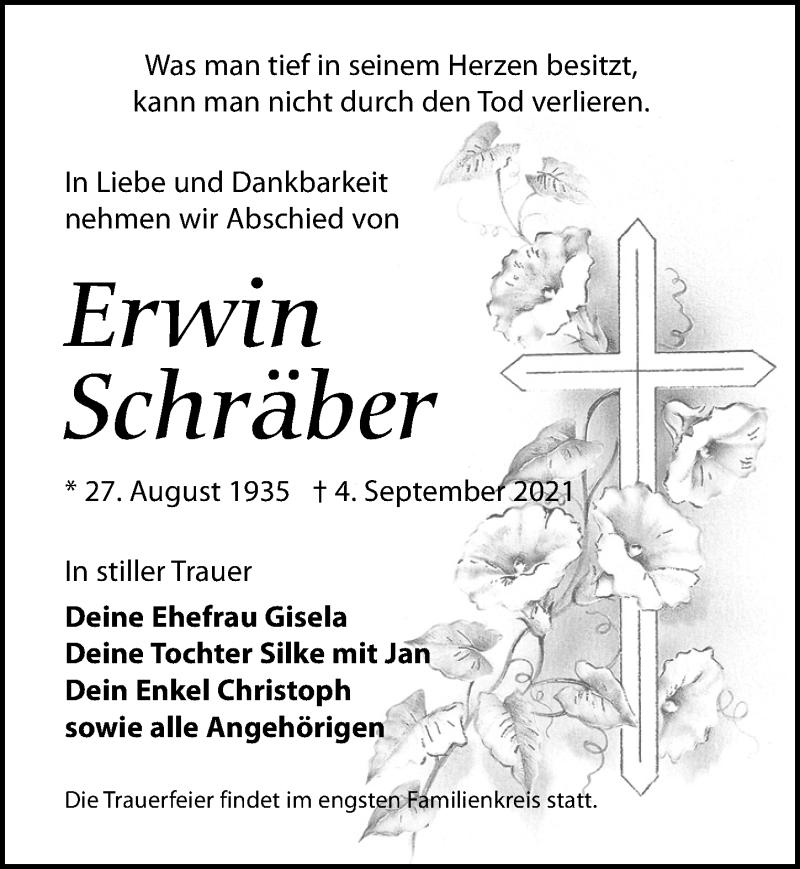 Traueranzeige für Erwin Schräber vom 11.09.2021 aus Leipziger Volkszeitung