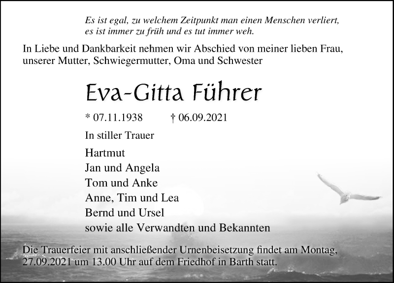 Traueranzeige für Eva-Gitta Führer vom 11.09.2021 aus Ostsee-Zeitung GmbH